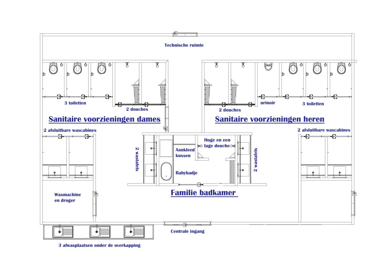 Nieuw sanitair met familie badkamer en extra toiletten